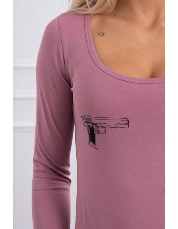 Telová blúzka s potlačou pištolí tmavo ružová, Tmavý / Ružový