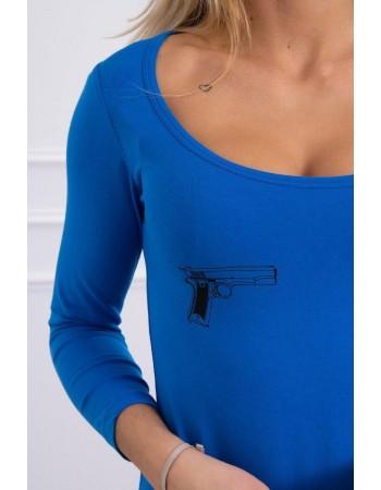 Telová blúzka s potlačou pištolí nevädza, Modrá nevädza