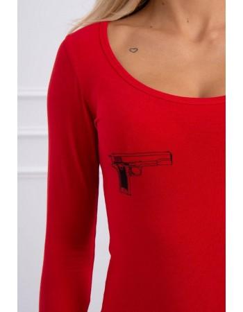 Telová blúzka s potlačou pištolí červená, Červená