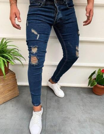 Pánske džínsy s dierami UX2738 - modré