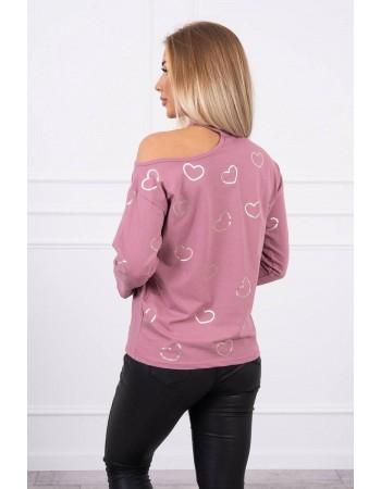 Blúzka s potlačou srdiečok tmavo ružová, Tmavý / Ružový