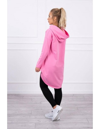 Mikina s dlhým chrbtom a kapucňou ružová, Ružový