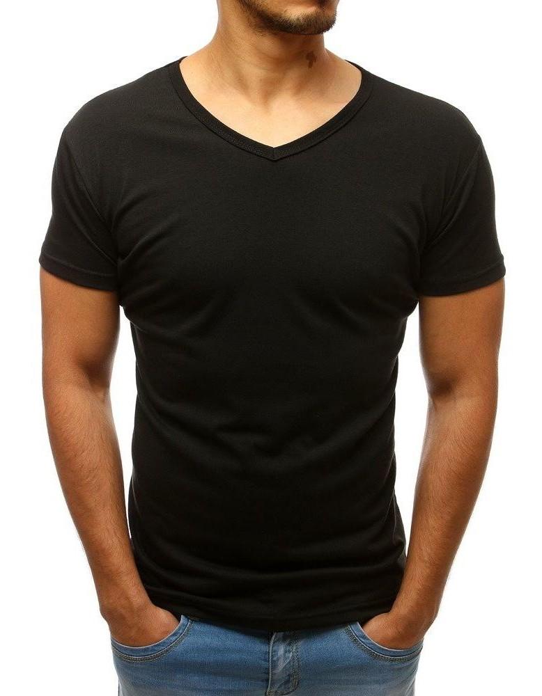 T-shirt męski bez nadruku w serek czarny Dstreet RX2579
