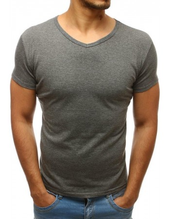 T-shirt męski bez nadruku w serek ciemnoszary Dstreet RX4557