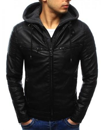 Čierna pánska koženková bunda (tx2071), veľ. 3XL