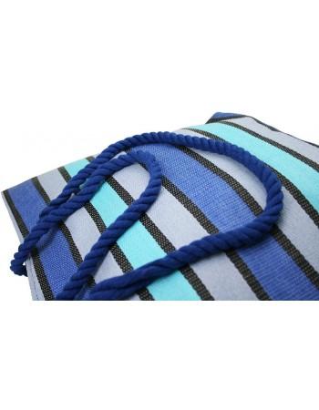 Pruhovaná slamenná taška plážová - modrá