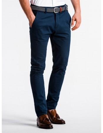 Elegantné pánske chino nohavice P830 - nármonícka modrá, veľ. S