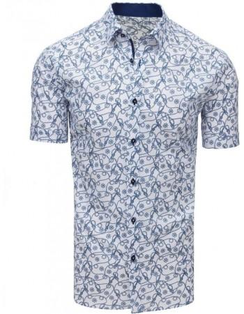 Koszula męska we wzory z krótkim rękawem biała (kx0905)