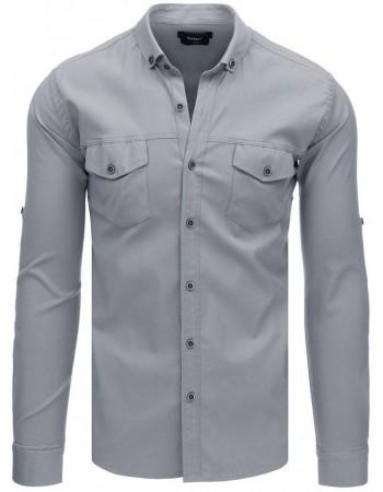 Pánska casual košeľa s dlhým rukávom (dx1752) - sivá, veľ. XXL