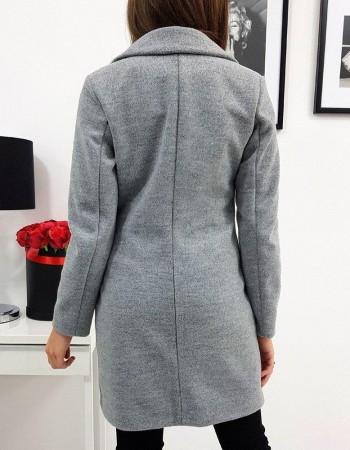 Płaszcz damski dwurzędowy BELLA jasnoszary (ny0294)