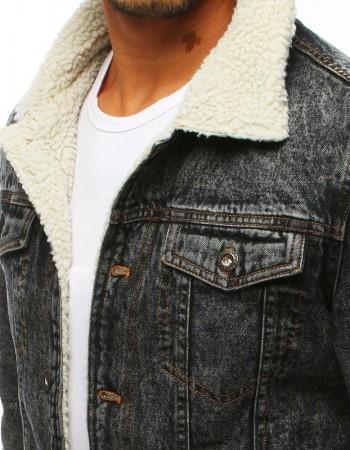 Zateplená pánska džínsová bunda (tx2834) - grafitová, veľ. S