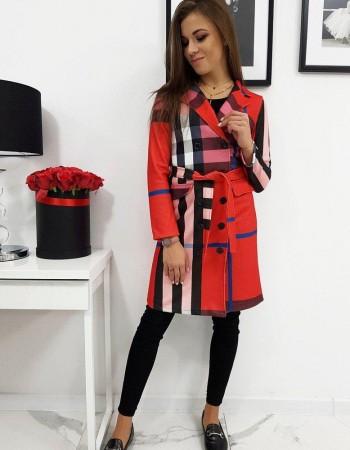 Štýlový kabát BURBERRY (ny0234) - červený, veľ. XL