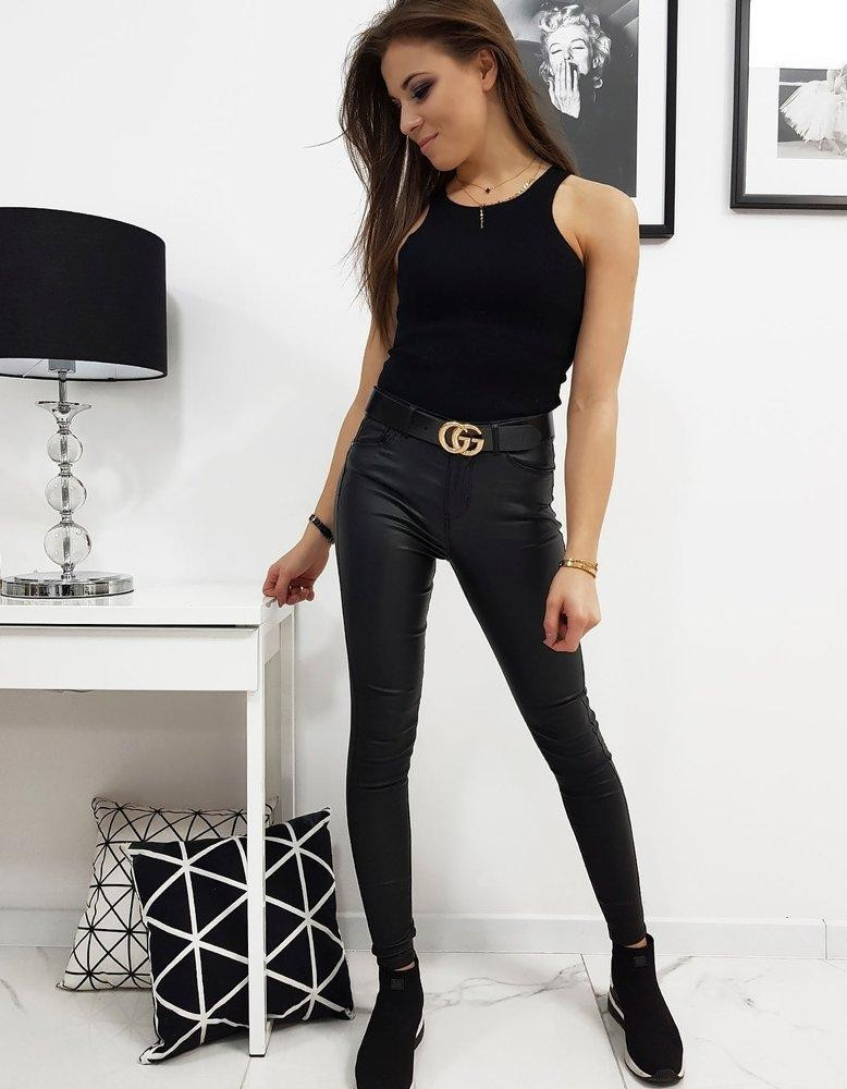 Dámske čierne voskované nohavice BALI (uy0217)