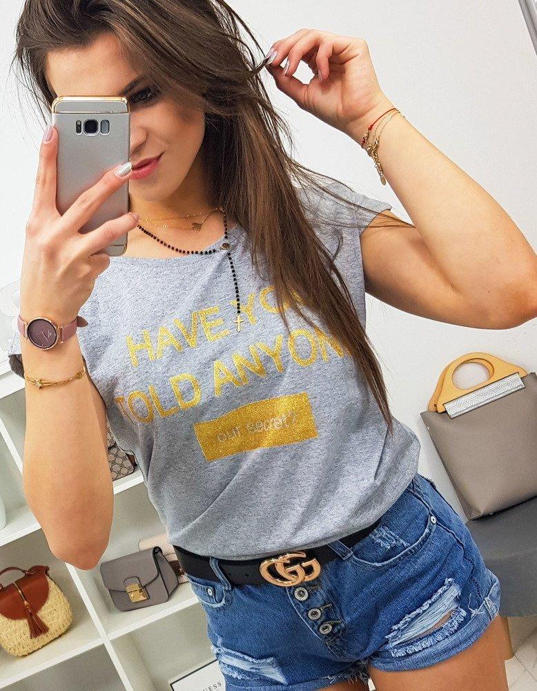 Kvalitné dámske tričko SECRET (ry0834) - svetlosivé, veľ. M