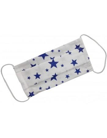 Dvojvrstvové ochranné rúško - biele s modrými...