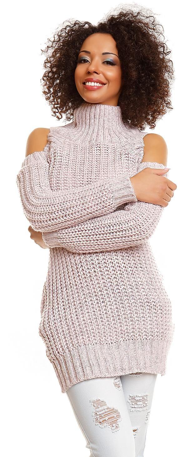 Dlhý dámsky sveter 30040 - ružový - Uni