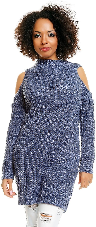 Dlhý dámsky sveter 30040 - džínsový - Uni