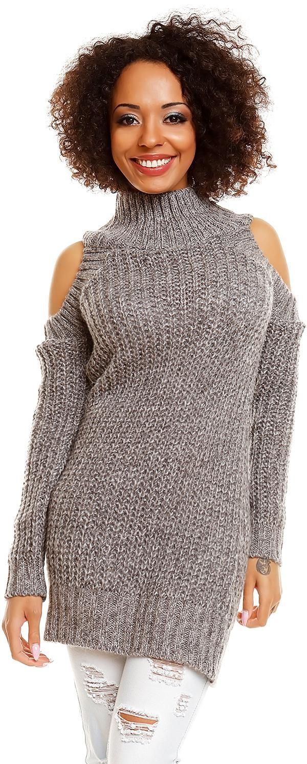 Dlhý dámsky sveter 30040 - sivý - Uni