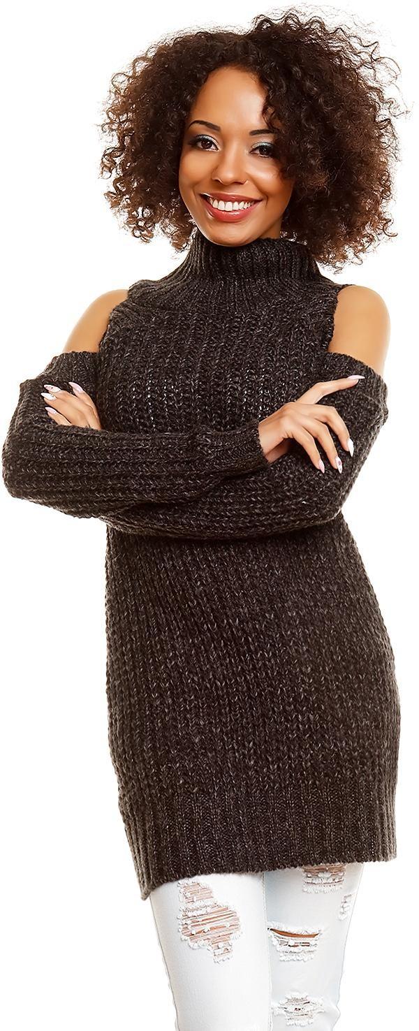 Dlhý dámsky sveter 30040 - čierny - Uni