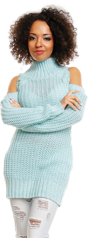 Dlhý dámsky sveter 30040 - mätový - Uni
