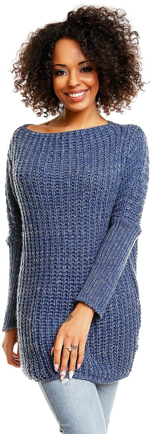 Modrý dámsky sveter s lodičkovým výstrihom 30043 - Uni