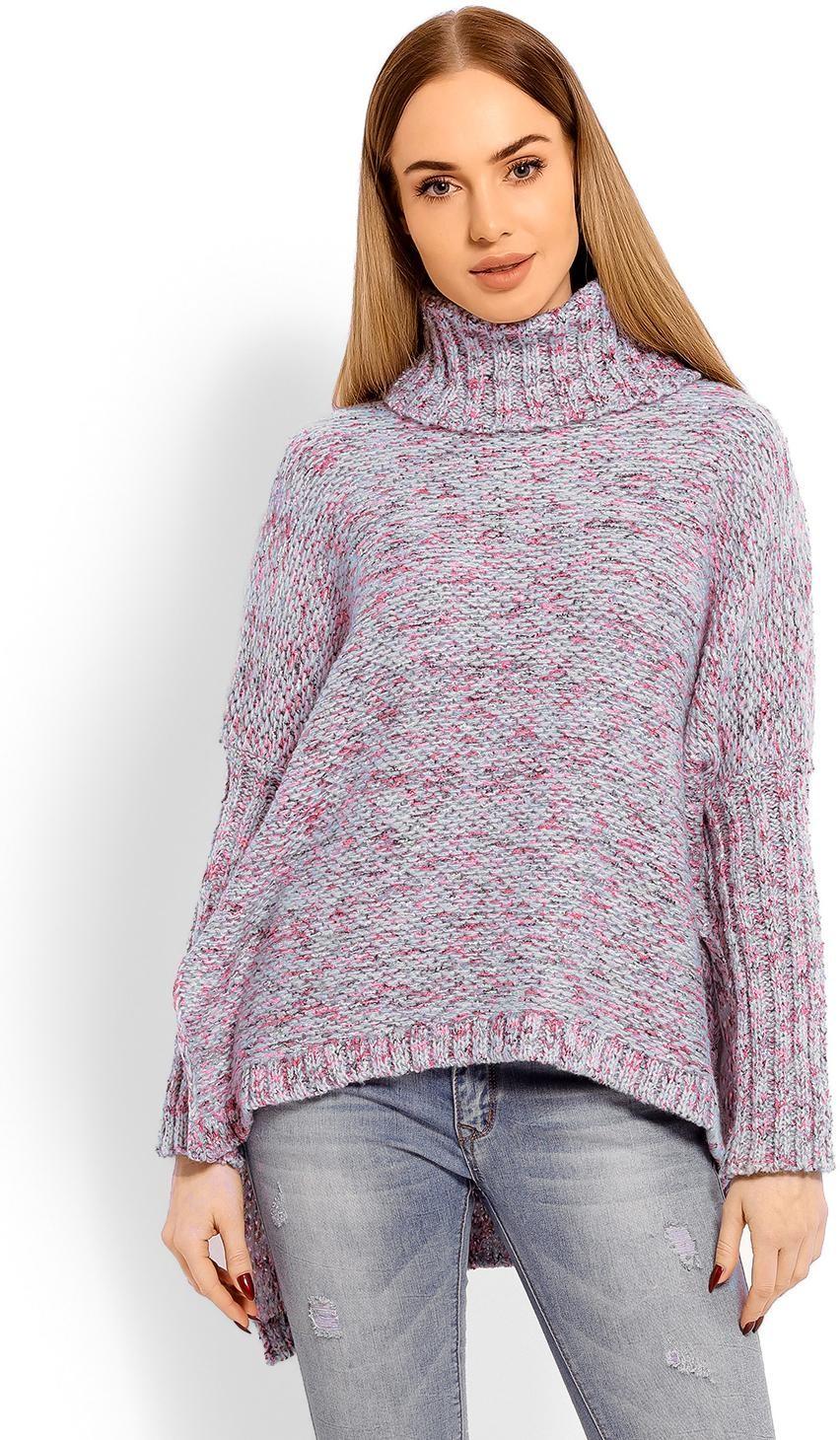 Dámsky sveter s rolákom 60002 - modrý - Uni