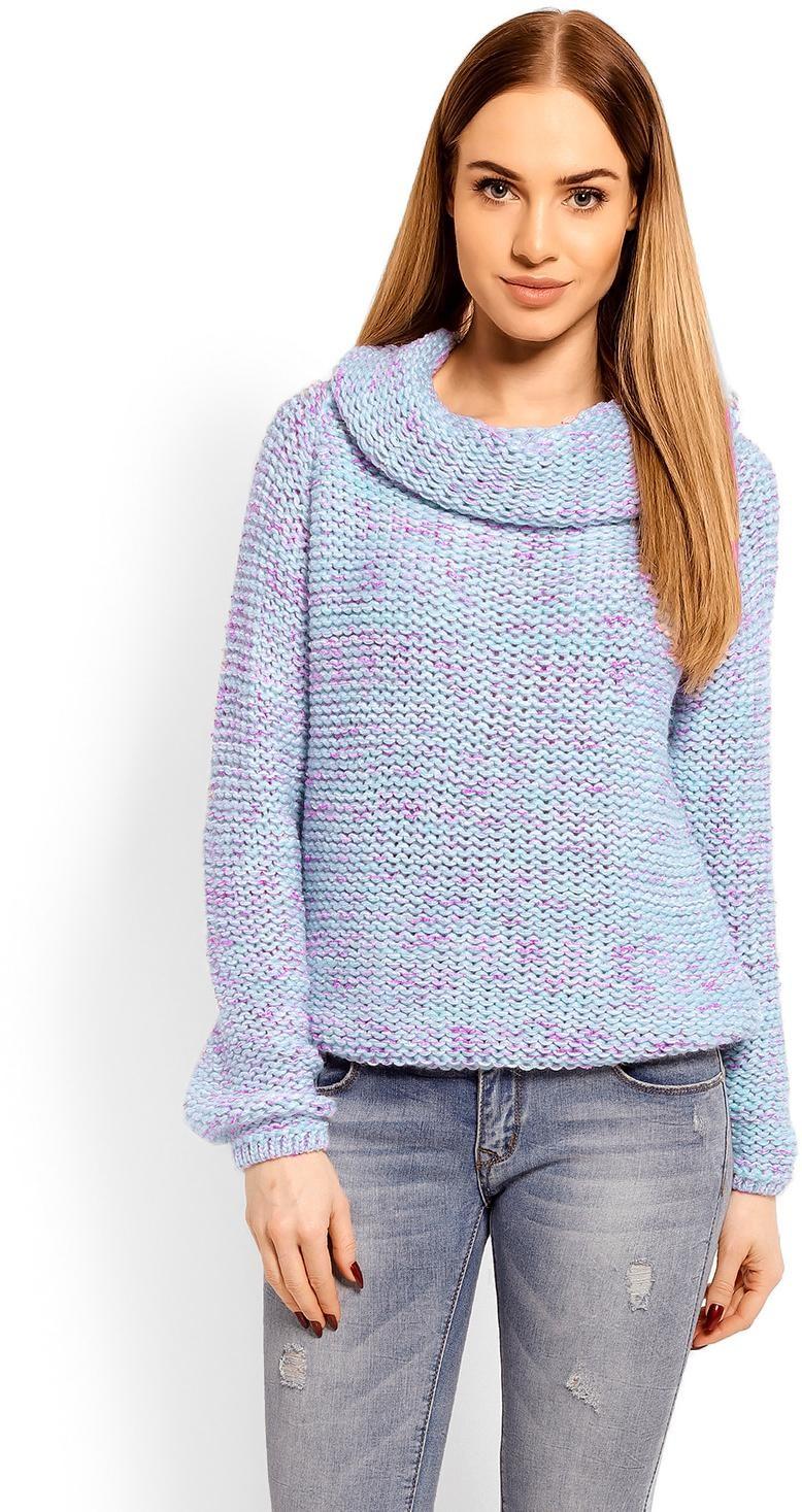 Dámsky sveter s rolákom 60001 - modrý - Uni