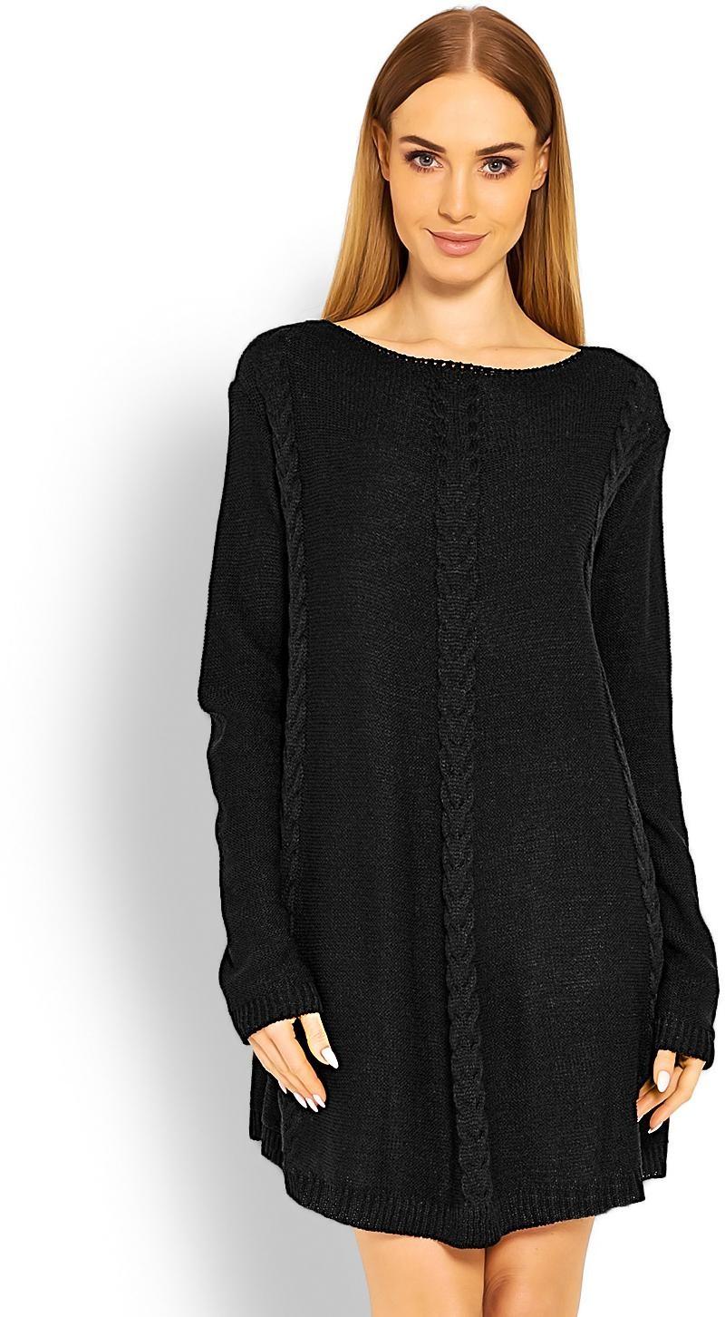 Dámsky čierny dlhý sveter 40005 - Uni