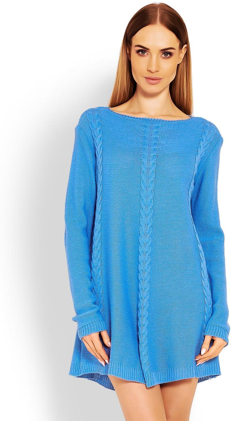 Dámsky modrý dlhý sveter 40005 - Uni