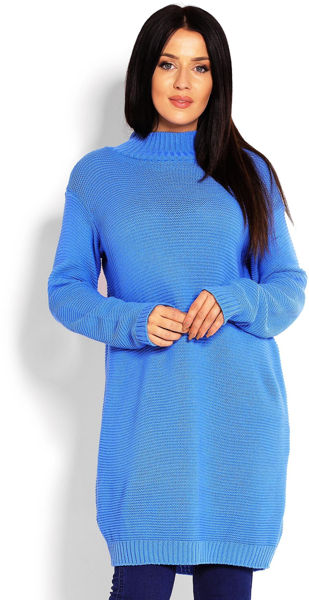 Dlhý modrý dámsky sveter 40009 - Uni
