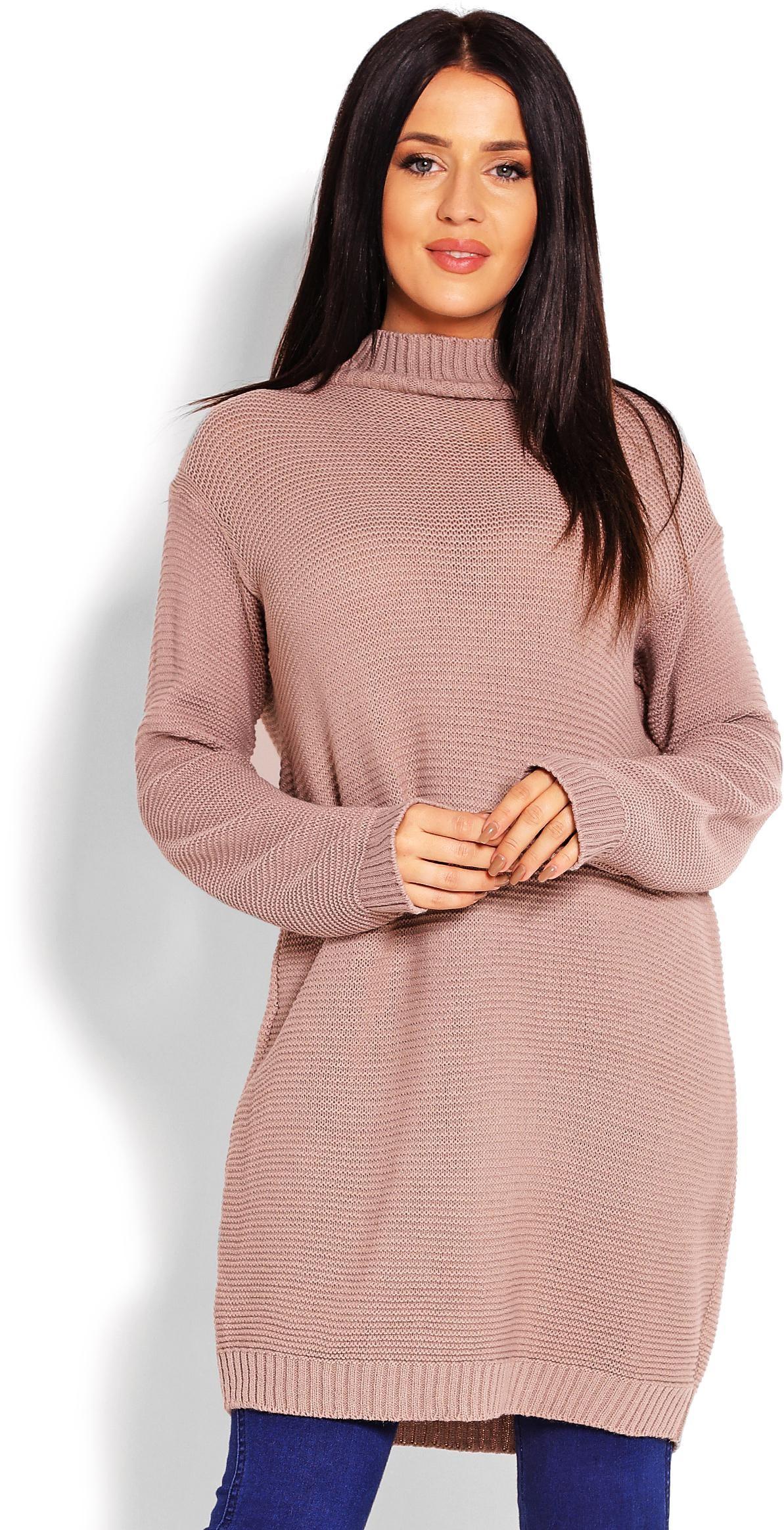 Dlhý kapučínový dámsky sveter 40009 - Uni
