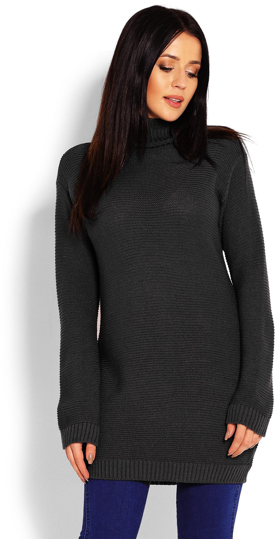 Dlhý grafitový dámsky sveter 40009 - Uni