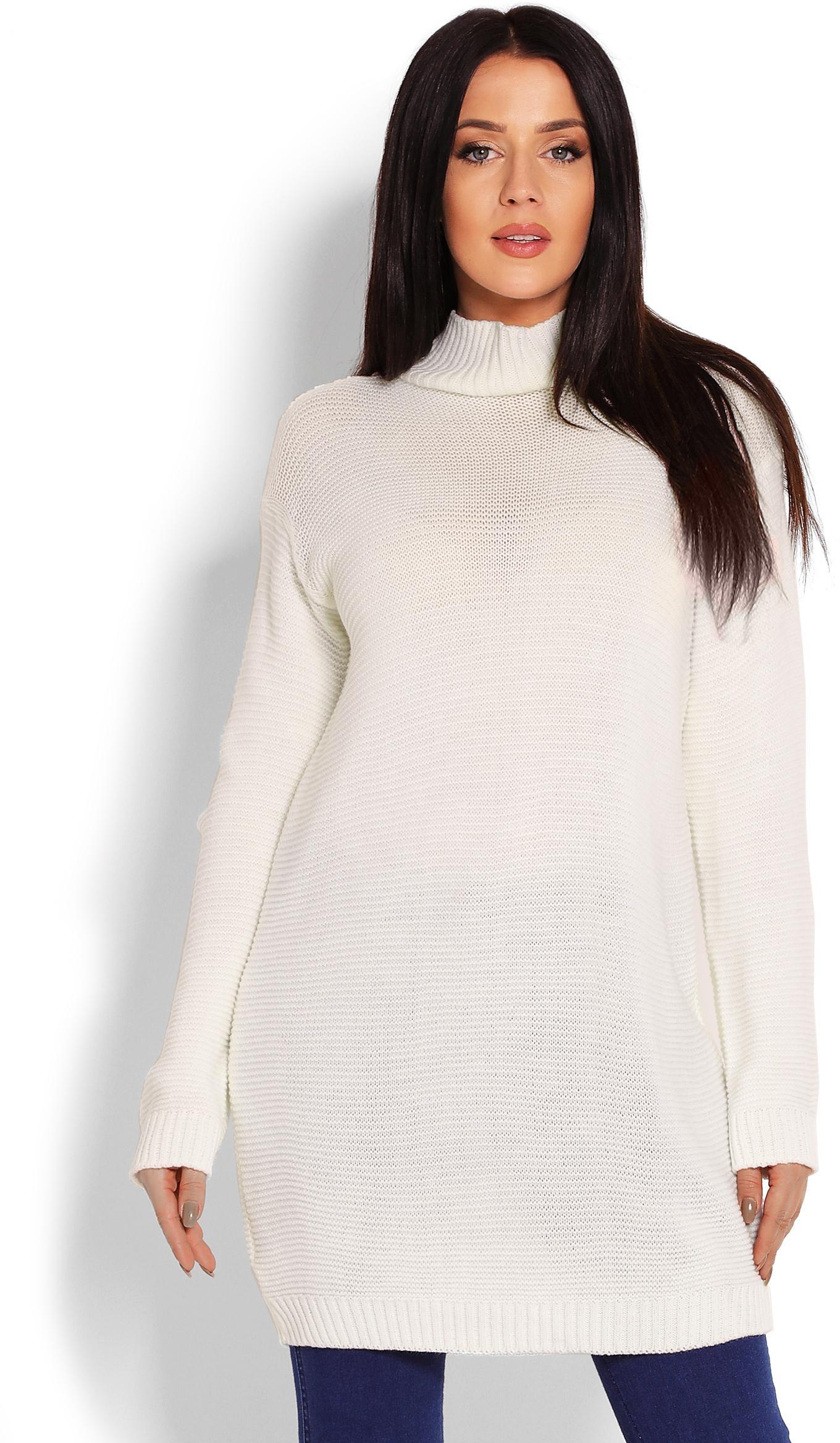 Dlhý krémový dámsky sveter 40009 - Uni