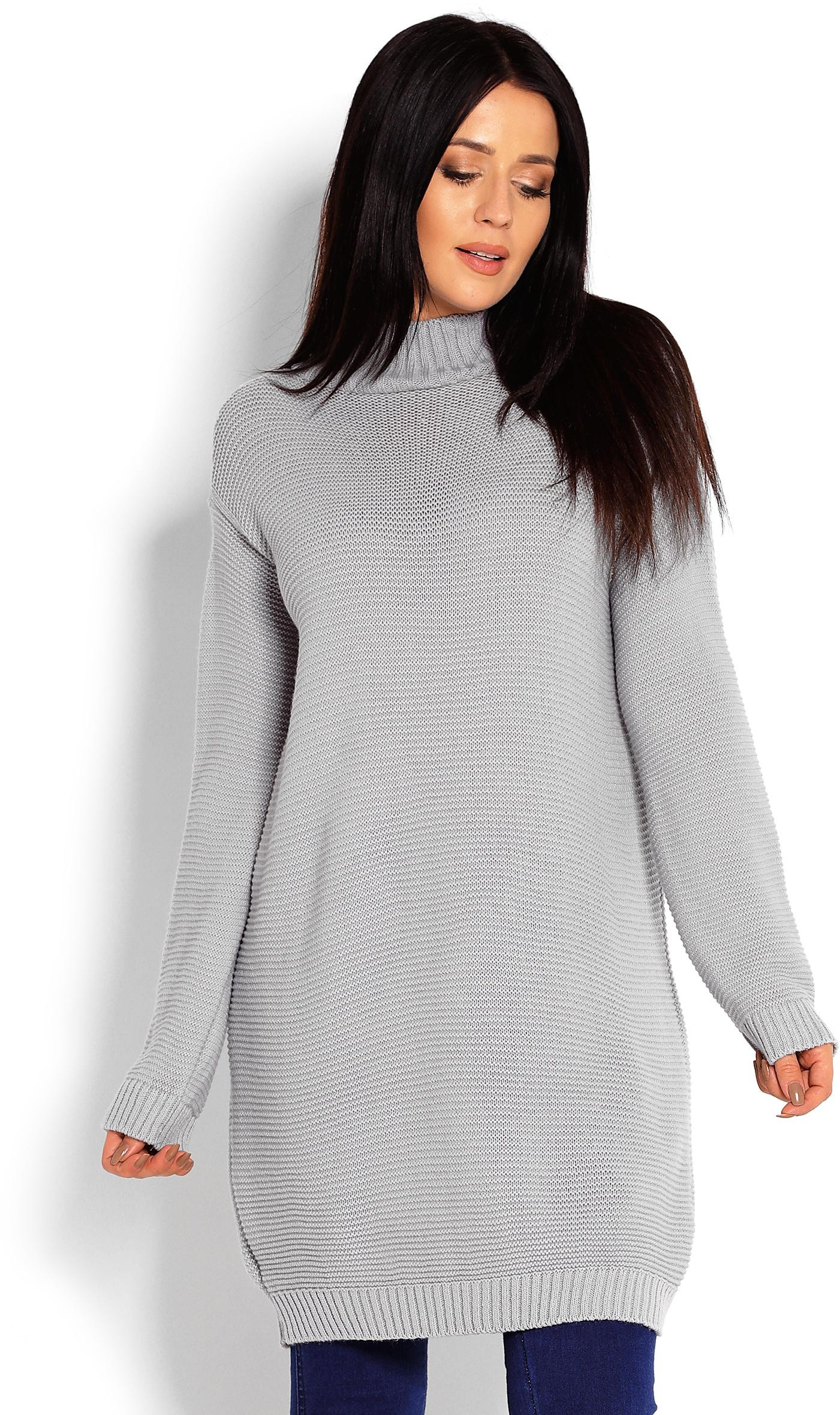 Dlhý sivý dámsky sveter 40009 - Uni
