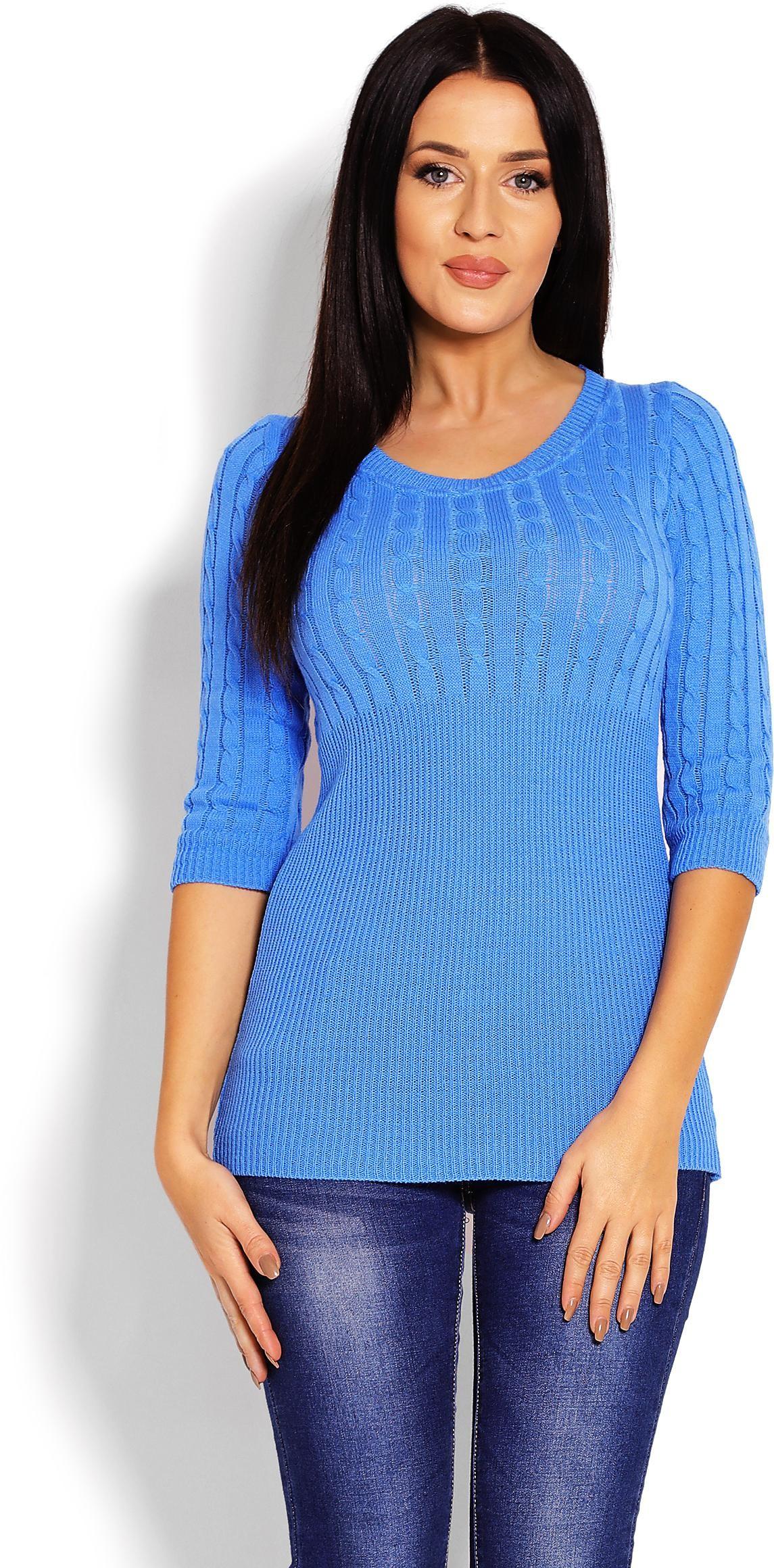 Dámsky sveter s 3/4 rukávom 70008 - modrý - Uni