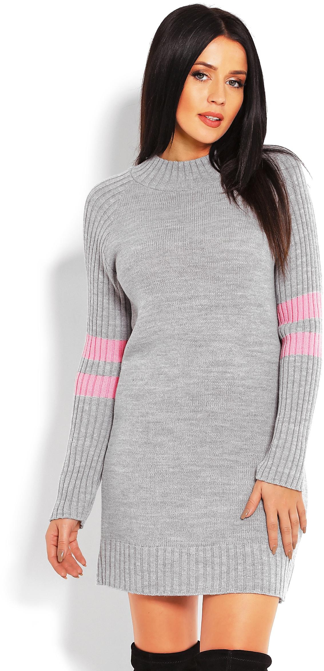 Sivý dlhý dámsky sveter 70011 - Uni