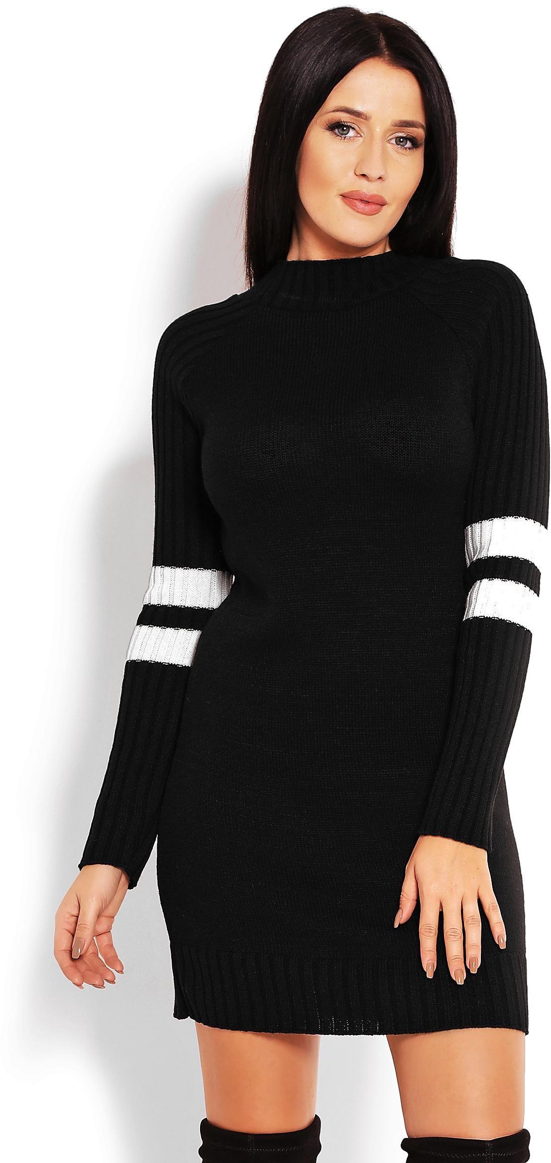 Čierny dlhý dámsky sveter 70011 - Uni