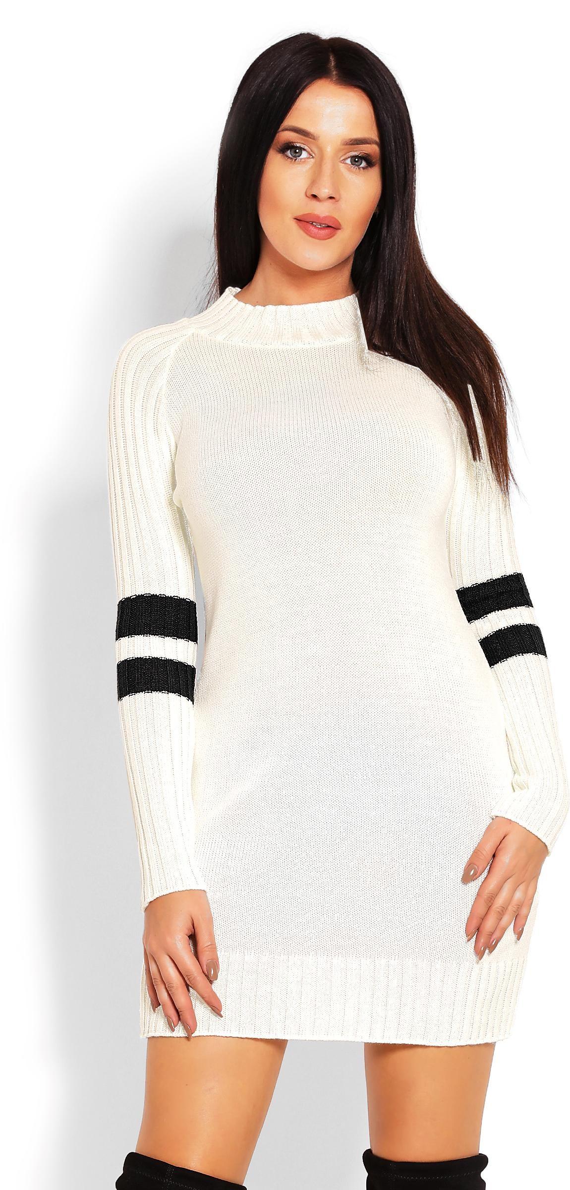 Krémový dlhý dámsky sveter 70011 - Uni