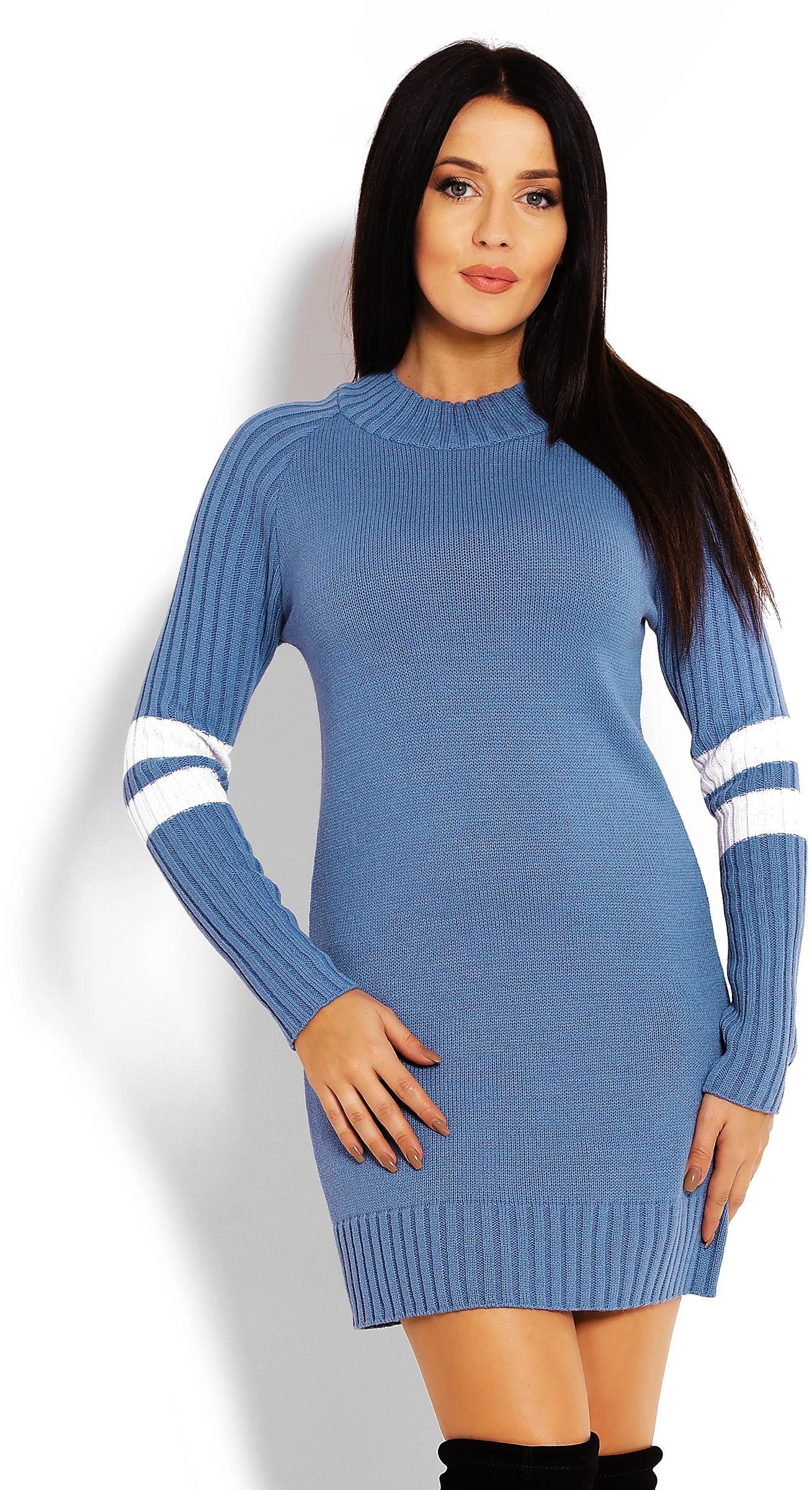 Modrý dlhý dámsky sveter 70011 - Uni
