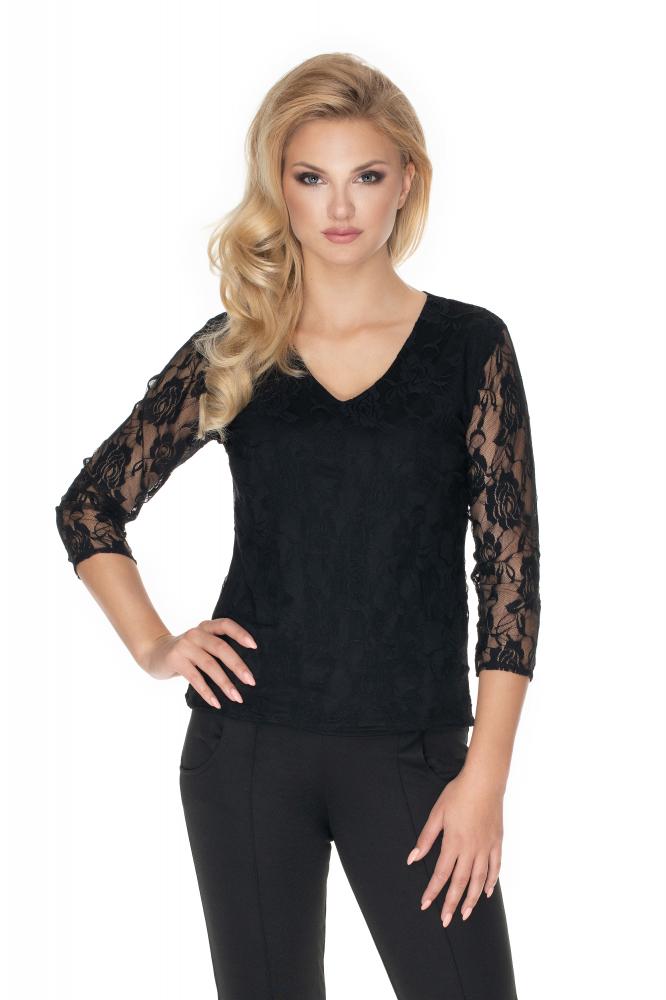 Čierna čipkovaná dámska blúzka 0167 - L/XL
