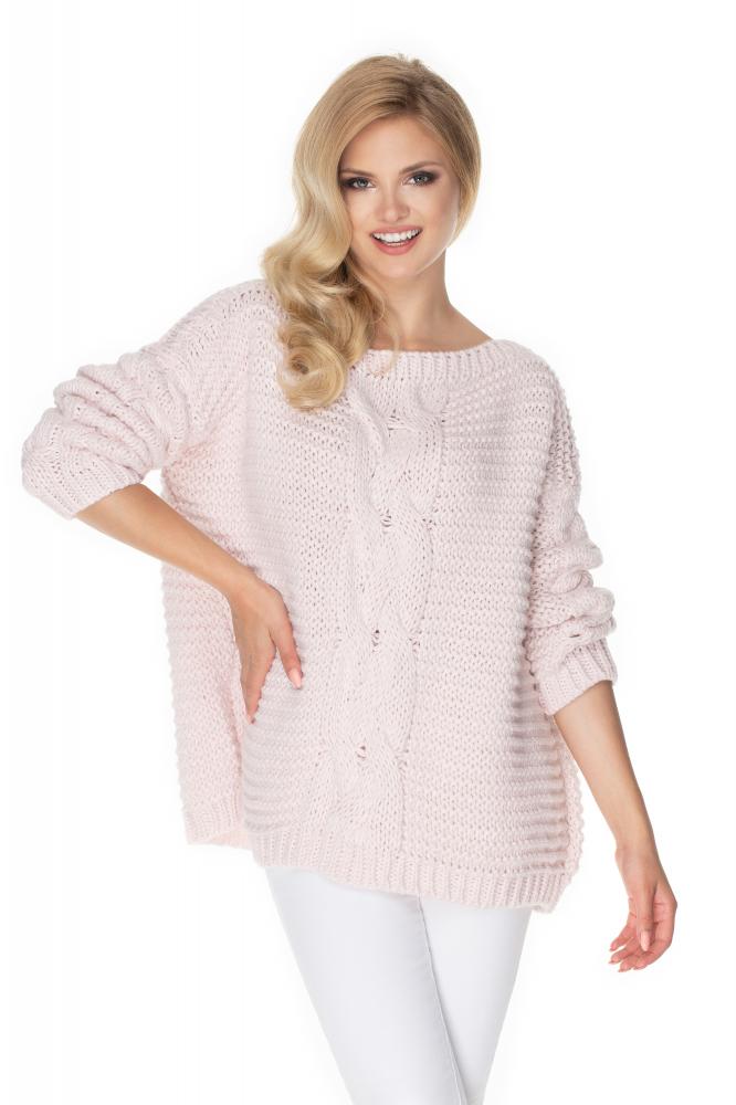 Ružový oversize sveter pre dámy 30065 - Uni