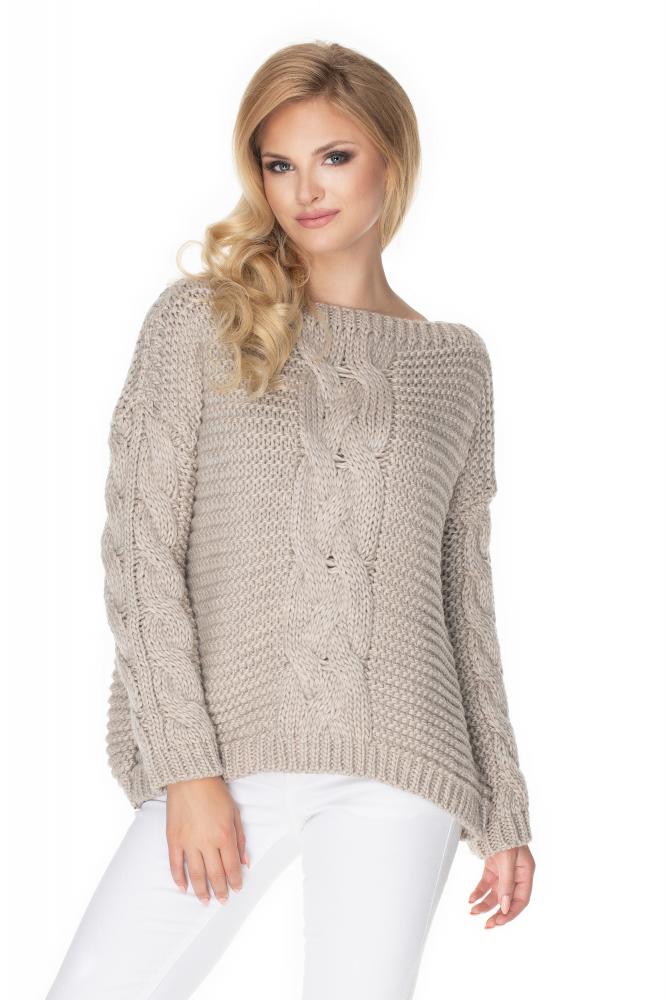 Béžový oversize sveter pre dámy 30065 - Uni