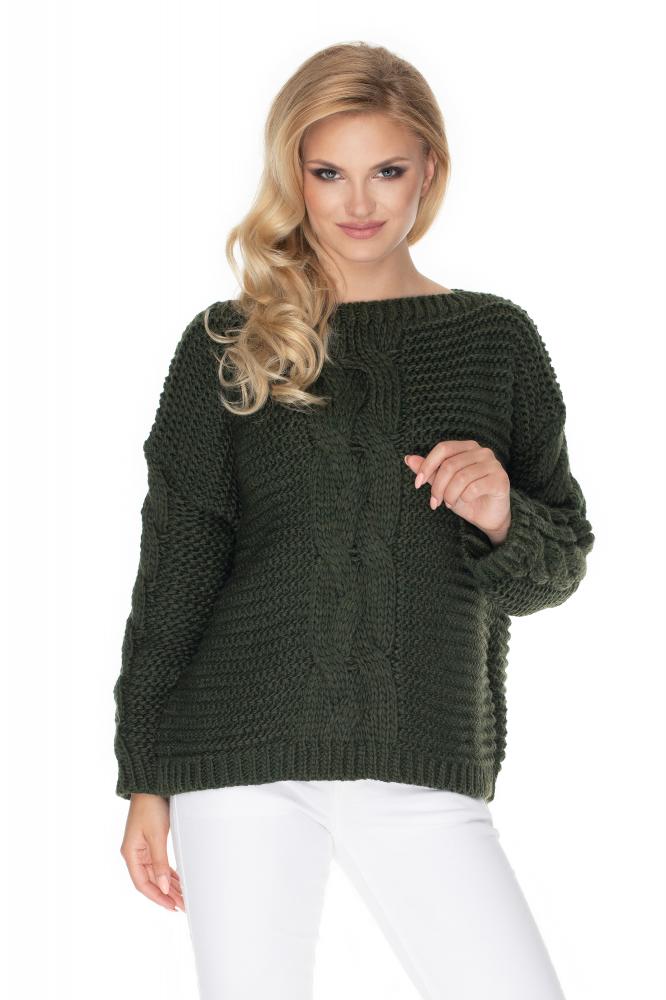 Kaki oversize sveter pre dámy 30065 - Uni