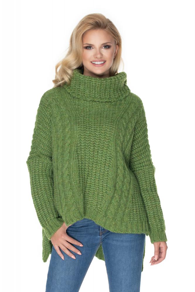 Zelený dámsky oversize sveter 30066 - Uni