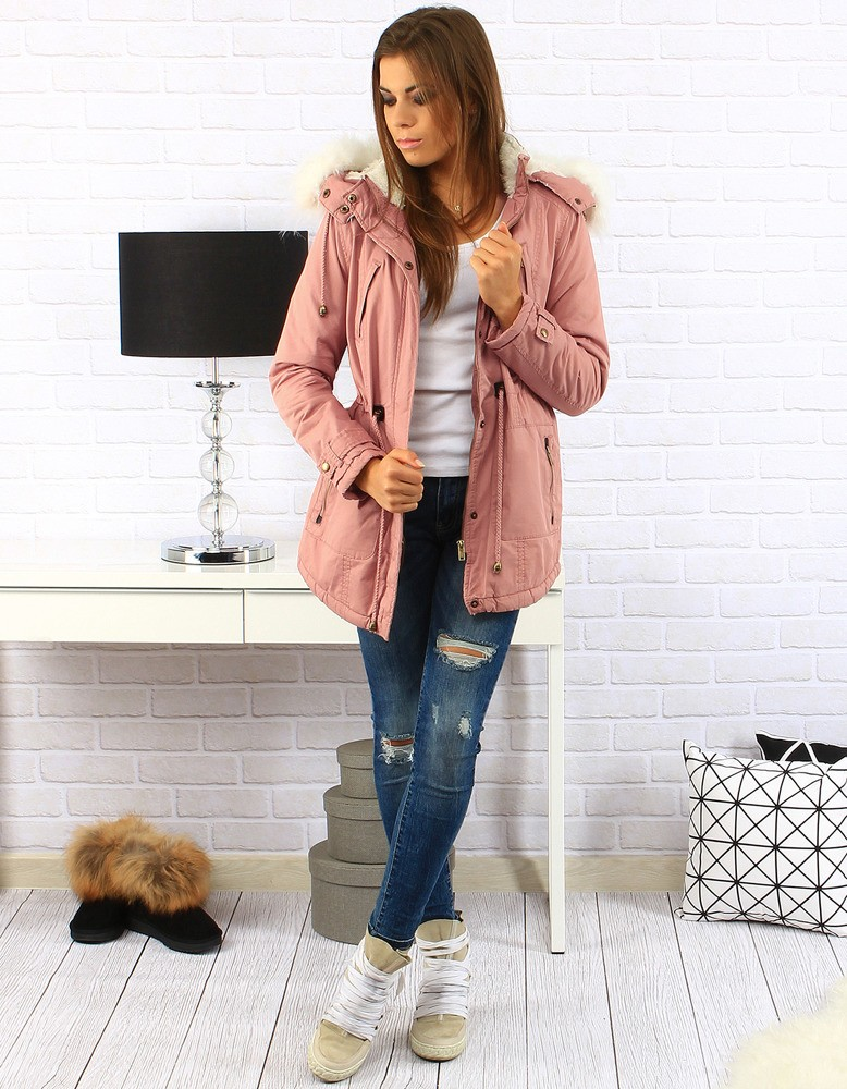 "Dámska zimná bunda (ty0141) - ružová ""XL"" - XL"