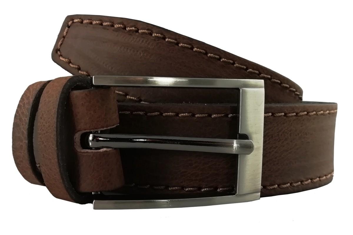 Tmavohnedý kožený opasok OP-003 - 95cm