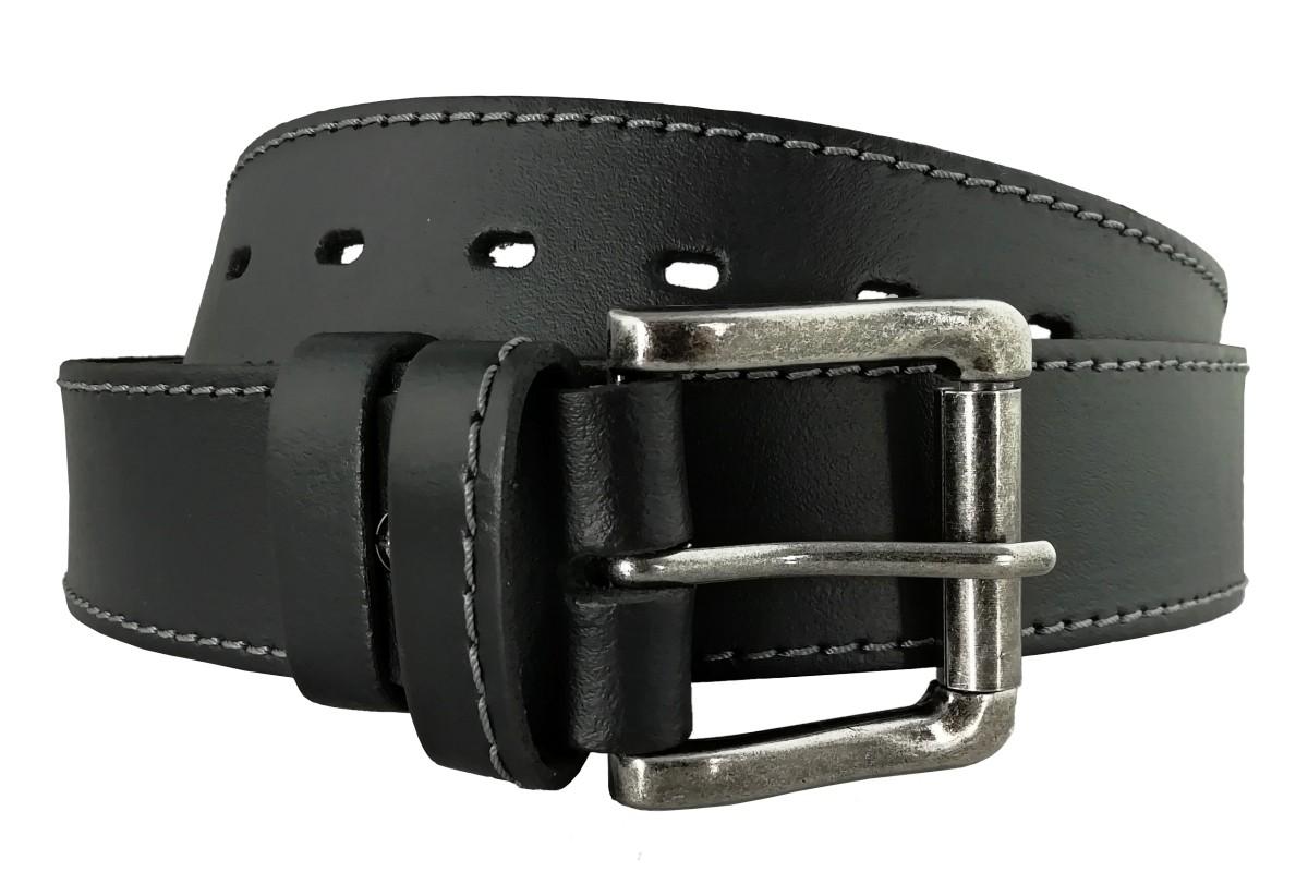 Čierny pánsky opasok z kože OP-009 - 95cm