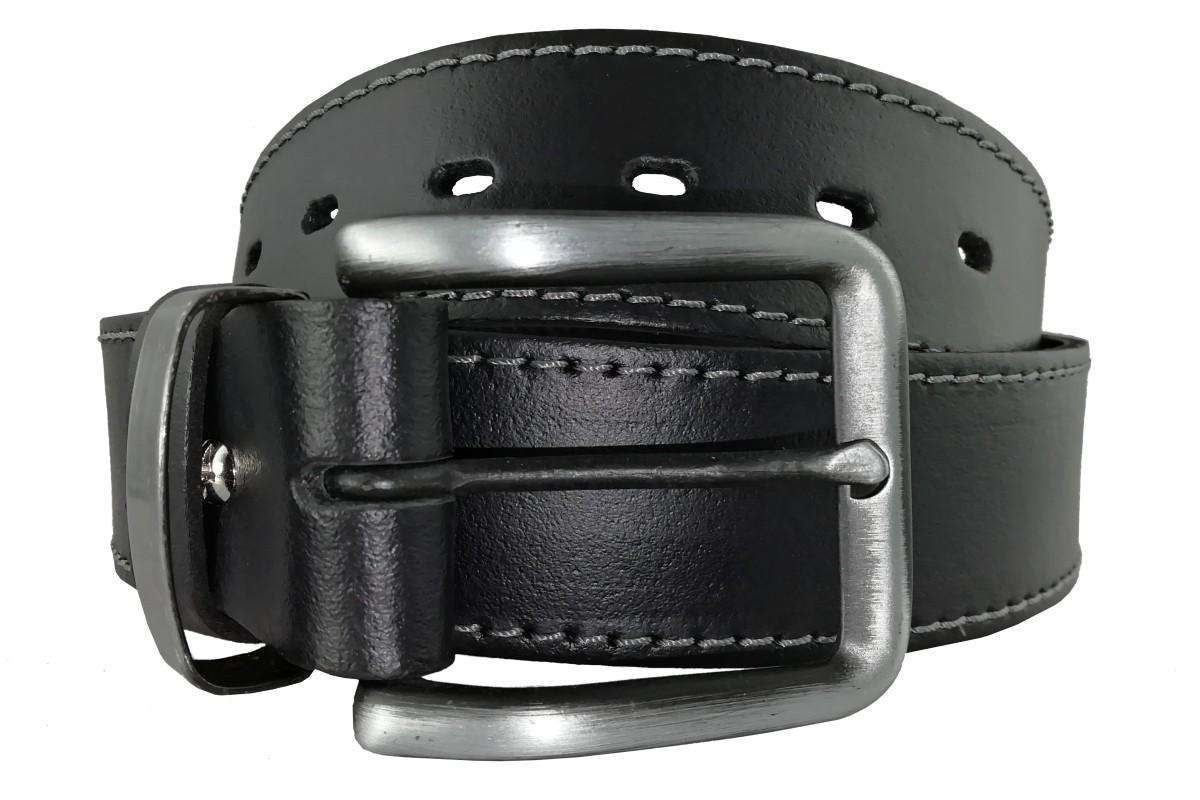 Čierny obšitý pánsky opasok z kože OP-010 - 95cm