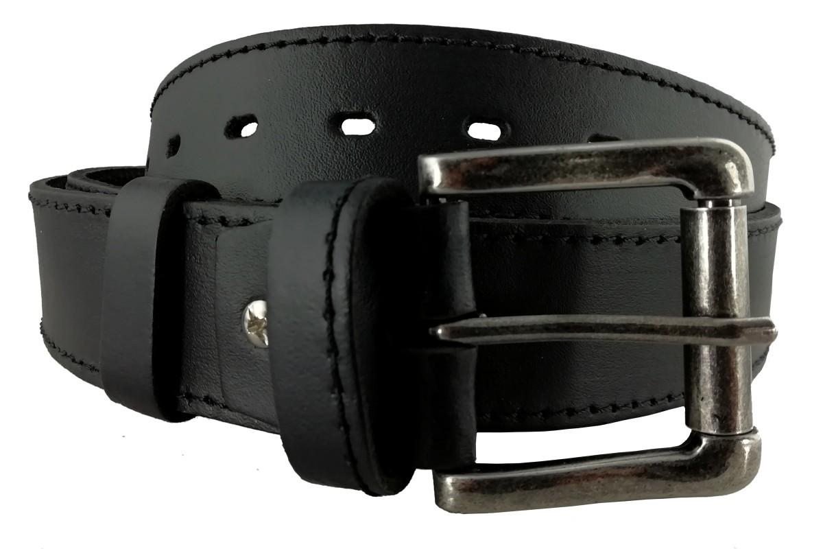 Pánsky kožený opasok čierny OP-015 - 95cm