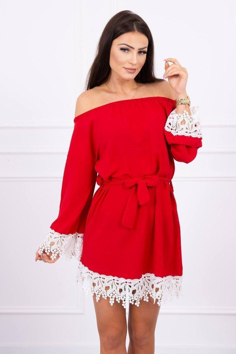 Dámske šaty s čipkou 9034 - červené - Uni